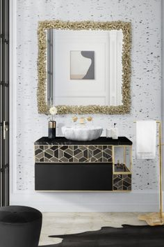 If you are looking for a modern luxury bathroom interior, the CAY Square Mirror is an excellent, elegant piece to add to the decor as it looks stunning alongside marble, gold and black themed furniture.