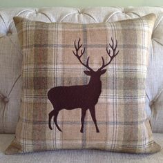 "Embroidered Stag on Tartan Wool. 18"" feather Cushion."