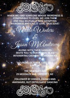 Printable Nebula Galaxy Wedding Invitation By Goosecornergreetings
