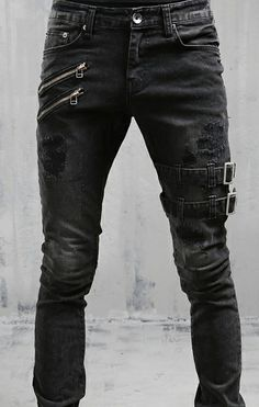Black and White jeans punk ripped goth Buckles black Buckles goth Jeans Punk ripped trousers white Buckle Jeans, Jeans Fit, Jeans Pants, Jean Joggers, Goth Pants, Jeans Levis, Male Jeans, Casual Jeans, Ripped Jeans