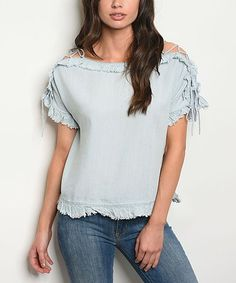 c31d050e29 Forever Lily Light Blue Denim Lace-Up Off-Shoulder Top - Women