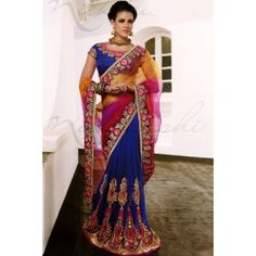 Blue Net &  Faux Georgette Lehanga Saree