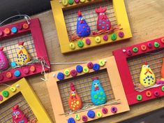 Clay and Stone Chicken Coops - Ostern - Projets Diy Farm Crafts, Rock Crafts, Diy And Crafts, Arts And Crafts, Easter Art, Easter Crafts For Kids, Diy For Kids, Popsicle Stick Crafts, Craft Club