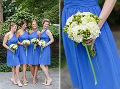 Blue Donna Morgan Bridesmaid dresses and green bouquets