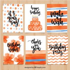 Pretty watercolor birthday cards in orange tones Free Vector