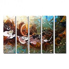 Hand-painted Abstract Oil Painting with Stretched Frame - Set of 5 - OutletsArt.com