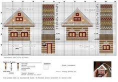 миниатюрная цветная новогодняя схема для вышивки крестом, пряничный домик, елочная игрушка своими руками