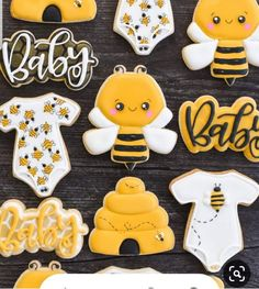 Baby Shower Balloons, Baby Shower Parties, Bee Cookies, Sugar Cookies, Flower Cookies, Heart Cookies, Personalized Baby Shower Favors, Sunflower Baby Showers, Mommy To Bee