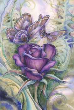 Love Is Beautiful Art Print by Jody Bergsma Colouring Pages, Adult Coloring Pages, Coloring Books, Free Coloring, Art Papillon, Diamond Drawing, Butterfly Flowers, Butterflies, Purple Roses
