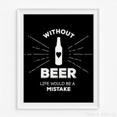 Beer Typography Home Decor Print. Starting Price $9.90 at VocaPrints.com - #Alcohol #typography#wallprint#homedecor#beer