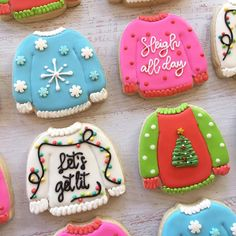 I think I have found my favorite Christmas cookie theme! More ugly Christmas sweaters this weekend too! Iced Sugar Cookies, Christmas Sugar Cookies, Christmas Sweets, Holiday Cookies, Holiday Treats, Christmas Baking, Summer Cookies, Valentine Cookies, Easter Cookies