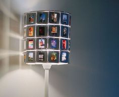upcycle an old lamp with picture slides as a new lamp shade