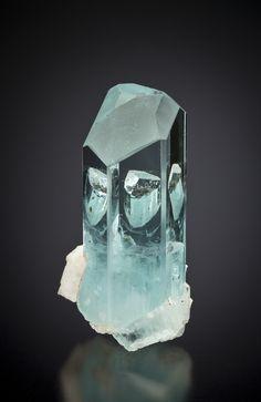 Beryl var. Aquamarine-Schorl  Nyet Bruk, Pakistan  65mm  Photographed for The Arkenstone  ex Herb Obodda Collection : Beryls : Mineral Photographer
