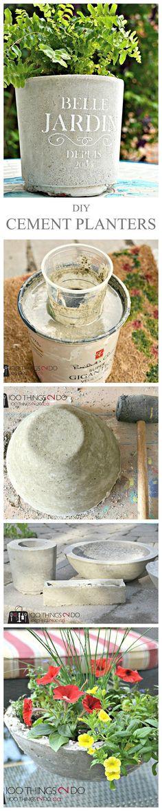 DIY Cement Planter, DIY Concrete Planter, make your own garden planters