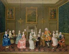 Tea Party at Lord Harrington's House, St. James's (oil on canvas) by Charles Phillips