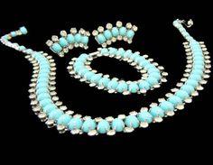 Kramer NY Rhinestone and Turquoise Cabs Necklace Earrings and Bracelet Set Signed Vintage Costume Jewelry, Vintage Costumes, Antique Jewelry, Vintage Jewelry, Vintage Necklaces, Turquoise Jewelry, Garnet Jewelry, Light Turquoise, Turquoise Color