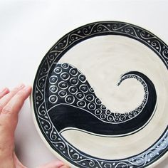 Wheel Thrown Pottery Octopus Plate by wildcardpottery on Etsy