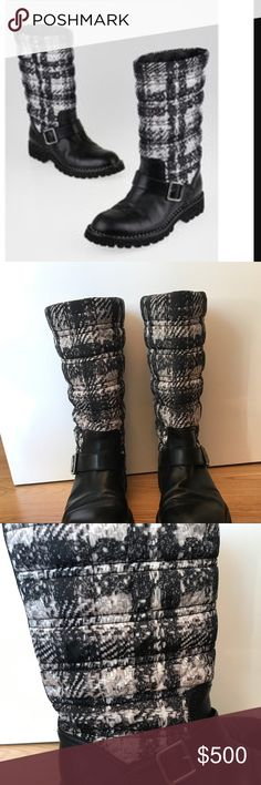 Chanel motorcycle boots All weather Chanel boots. Rubber soles good for rain and snow. Tweed printed. Good used condition. CHANEL Shoes Winter & Rain Boots