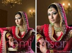 Mahnoor Baloch in Beautiful Coral Bridal Outfit by Nomi Ansari