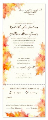 Watercolor Wedding Invitations ~ Fall Colors