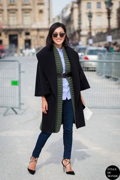 belted sweater and layers...  #NicoleWarne #GaryPepper at #paris #fashionweek #pfw #outfit #ootd #streetstyle #streetfashion #streetchic #streetsnaps #fashion #mode #style