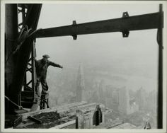 Empire State Building under construction, Chrysler building prominent in background, 1931 photo by Lewis Hine, NYPL collection Empire State Building, New York Architecture, Architecture Images, Classic Architecture, Construction Worker, Under Construction, World Trade Center, Lewis Wickes Hine, Old Photos