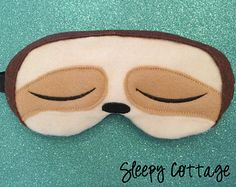 Sleepy Sloth Eye Mask Sleep Mask by TheSleepyCottage on Etsy Sleepover Party, Slumber Parties, Diy Fashion, Fast Fashion, Vintage Marketplace, Sleep Mask, Craft Sale, Artsy Fartsy, Sloth