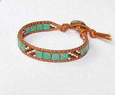 Turquoise tile wrap bracelet with by WorldOfSquirrelCraft on Etsy