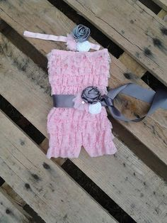 Pink and gray romper with sash and headband by TutuGraceful, $31.50