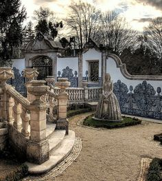 Stone Lady in the Garden, Coimbra, Portugal (by Coussier)...