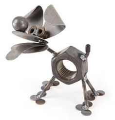 Chubby Nut Puppy Statue - What you do with a large nut and part of a ball bearing? You make a happy puppy is unique and funny looking. Made from scrap parts this puppy is sure to bring a smile. Just the right size for an office desk or small shelf area. Dog Sculpture, Animal Sculptures, Metal Sculptures, Garden Statues For Sale, Skull Island, Garden Deco, Dog Crafts, Happy Puppy, Animal Decor