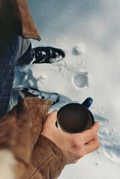 There's nothing more peaceful than coffee in winter. Particularly coffee breaks halfway down the mountain while enjoying gorgeous, snowy scenery, watching the misty vapor rise out of your little cup of sunshine.