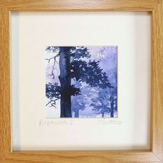 Framed print of watercolour, Purplewoods 2