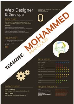 Mohammed Mahgoub's Resume. 20 Innovative Resume Examples. #resume #design #inspiration