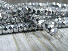 Czech Fire Polished Glass Beads~Facet Rondelle~  Silver~6/3mm #Preciosa #Czech