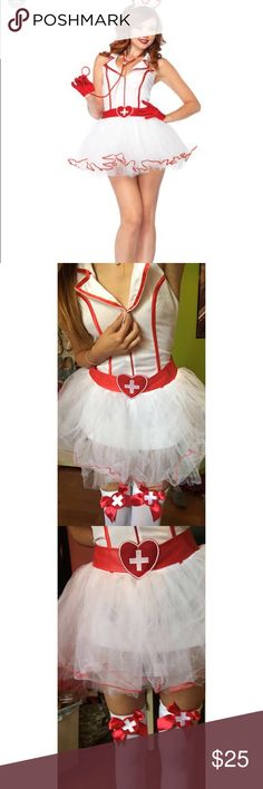 Sexy Halloween costume Sexy nurse costume. Sexy Halloween costume  Nurse. Worn once only for a few hours.  Comes with hat, dress, and stockings!! Originally $65 Holding the top Bc it fits me a little big. Dresses Mini