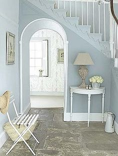 Love the texture the stone flooring gives this entrance!