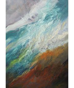 Abstract Painting Art - blue brown ocean - Susan Angwin - Meditation in Motion III