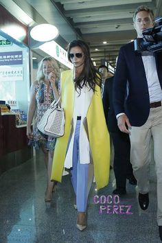 Victoria Beckham arrives in Beijing in great style.