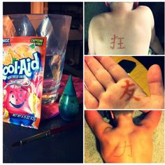 Diy tattoo ink: * package of orange koolaide * drop green food coloring * 1 cup of water This will last for quite a while