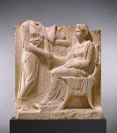 """Marble Grave Naiskos of a Seated Woman with Two Standing Women; Greek, c. 340 B.C.; 43-5/16"""" x 39-3/8"""" x 9-15/16""""; Getty Museum, Malibu"""