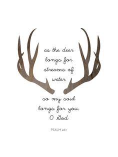 Brown Deer Bible Verses Psalm 42 Antler by MelindaWoodDesigns