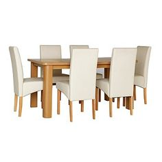 07db5a928a8 Buy HOME Stonebury Oak Stain Table and 6 Cream Skirted Chairs at Argos.co.uk