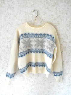 Vintage wool Vikingur crewneck ski sweater. This unique rare pullover sweater is…
