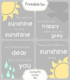 You are my  sunshine   my only sunshine   You make me happy   when skies are grey   You'll never know dear   how much I love you   Please d...