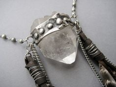 Magi raw crystal amulet necklace with feather by AuroraShadow