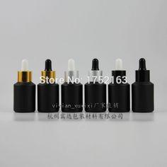 30 ml Schwarz Schräge schulter Gefrostet dropper Flasche, Ätherische öle flaschen, kosmetikverpackungen, glas tropfflasche 50 teile/los