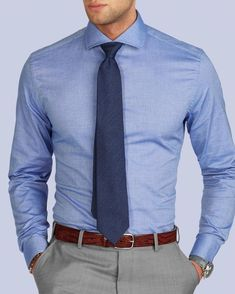 New shirt in stock! Let's welcome an office outfit essential - the Blue Donny shirt. With a light and stretch fabric, this is a great… Formal Dresses For Men, Formal Men Outfit, Formal Shirts For Men, Blue Shirt Outfit Men, Men Shirt, Business Casual Men, Men Casual, Moda Formal, Herren Outfit