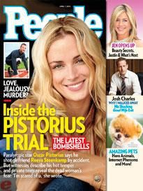 ON NEWSSTANDS 3/28/13: Oscar Pistorius Trial: Did His Fear of Intruders or Hot Temper Cause Him to Pull the Trigger? Plus: Jennifer Aniston opens up and more.