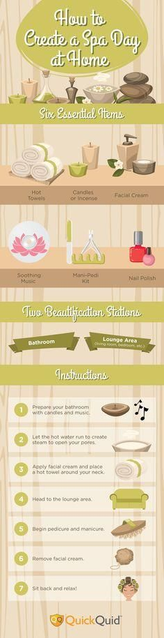 How to Create a Spa Day at Home #infographic #Spa #HowTo